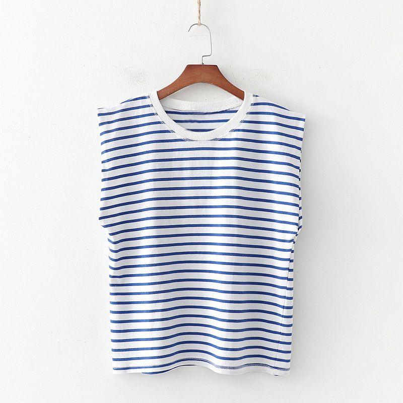 Полосатый Печать Урожай Женщины футболку наплечный рукавов O-образным вырезом Женский Tshirts Summer Casual Streetwear Дамы футболки