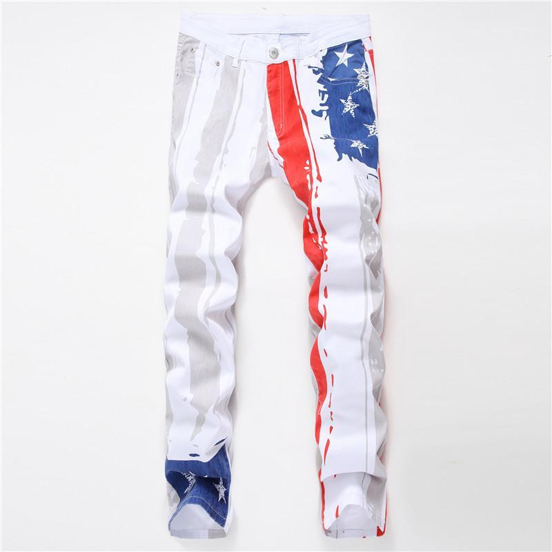Kişilik Jeans Erkekler Jeans Casual Erkek Kalem Pantolon Yaz Moda Homme Giyim Erkek Beyaz Baskılı