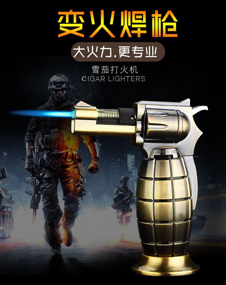 antitank grenade type flame Jet Torch Cigarette Lighter plastic windproof flame Butane Gas Refillable multiple flame adjustable creative
