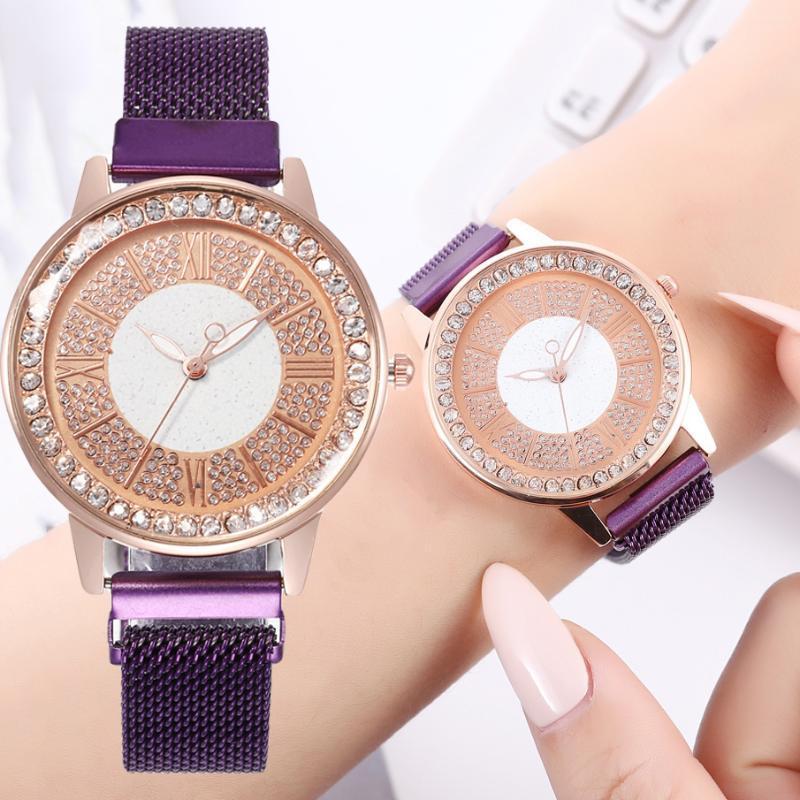 Женщины часы горный хрусталь синий сетки пояса кварцевые часы Мода дамы наручные часы кожаный браслет часы