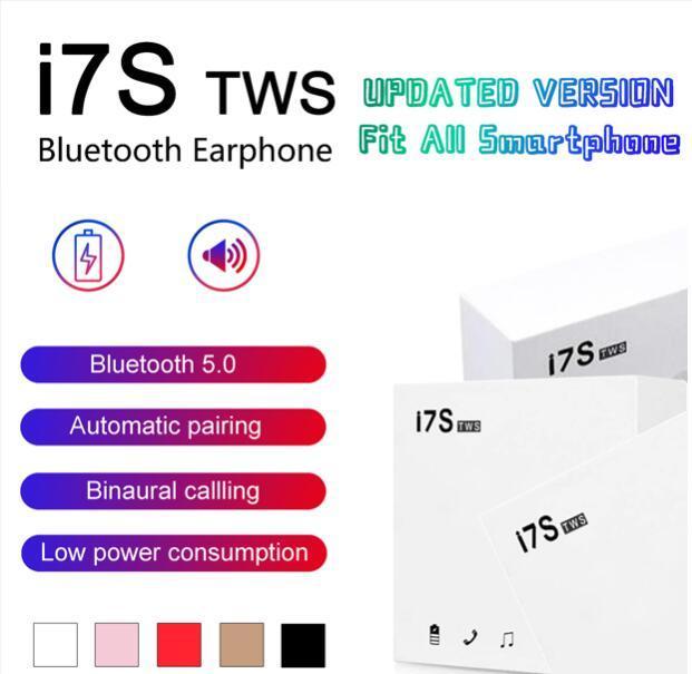 I7 I7S TWS سماعات بلوتوث التوائم سماعات الأذن البسيطة سماعة سماعات لاسلكية مع هيئة التصنيع العسكري V5.0 ستيريو للهاتف أندرويد مع حزمة البيع بالتجزئة