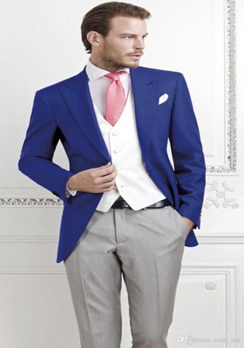 Новый Дизайн Royal Blue Groom Смокинги Пик Отворот Мужские Свадебные Смокинги Отличный Мужской Пиджак Пиджак Костюм 3 Шт. (Куртка + Брюки + Жилет + Галстук) 1286