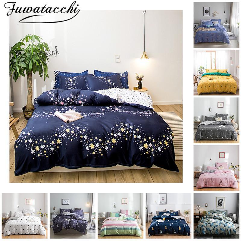 Fuwatacchi 3 / 4pcs nórdica Impreso sistemas del lecho de rayas King Size sábanas y fundas de almohada para Casa Rural funda nórdica Juego de cama