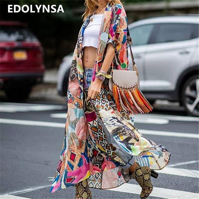 2020 Bohemian Impresso Meio Praia Sleeve Summer Wear longo Kimono Cardigan Algodão Túnica Mulheres Tops Blusa Sarong plage N796 CX200615