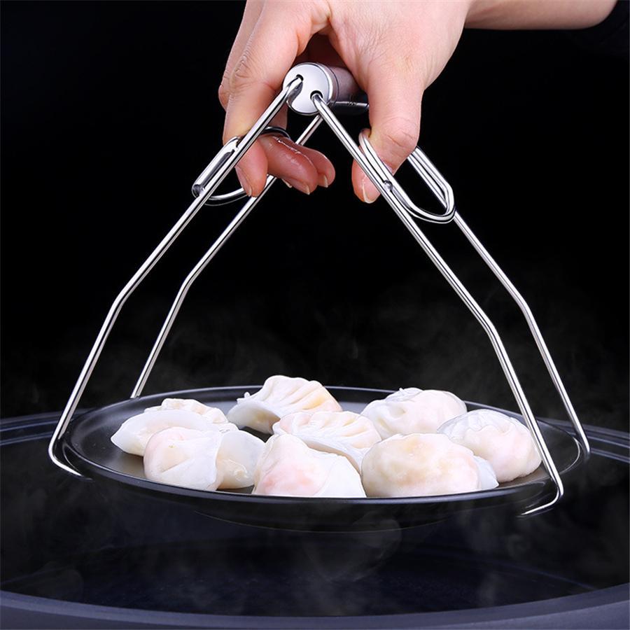 Нержавеющая сталь складная тарелка тарелка чаша клип Тонг горячая плита захват держатель посуды зажим щипцы кухонные инструменты JK2003