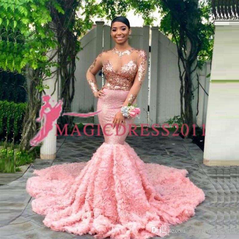 Charmante lange mouwen prom jurken formele avondjurken Arabische speciale gelegenheid jurk zeemeermin ronde hals roze applicaties partij beroemdheid