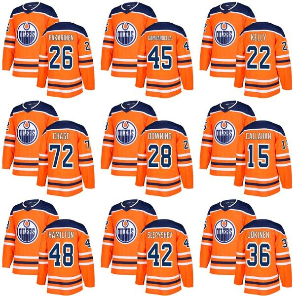 online store e1f61 23abc 2019 Pakarinen Gambardella 22 Kelly 72 Gregory Chase Grayson Downing Mitch  Callahan 48 Hamilton Slepyshev Jokinen Edmonton Oilers Hockey Jersey From  ...