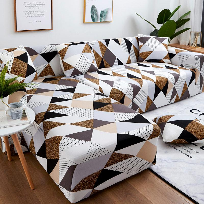 Set di copertura del divano Set di divano geometrico Cover Elastico Divano per soggiorni Animali Angolo L Chaise Longue