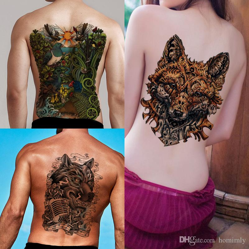Best Full Back Chest Animal Large Waterproof Temporary Tattoo Forest Eagle Fox Wolf Peacock Sticker Big Beauty Tattoo Design For Female Male Temporary