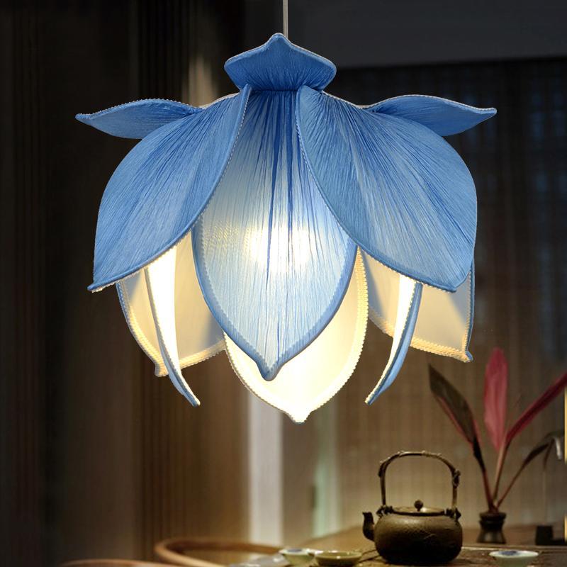 40 cm Chinois Style Tissu Lustre creative Lotus pendentif