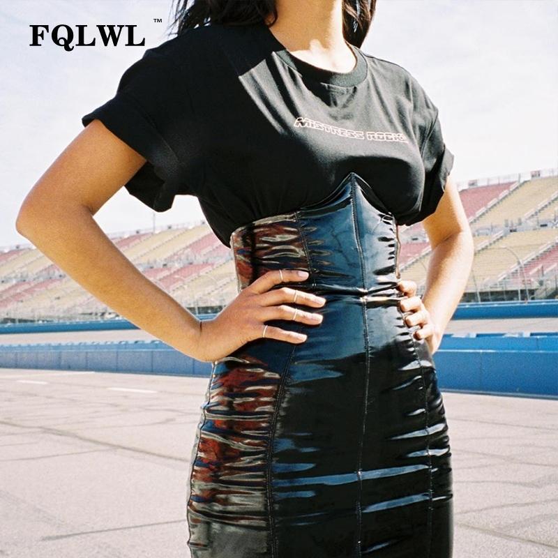 Fqlwl faxu látex pu saia de couro para mulher zipper preto / cintura alta / saias lápis womens outono envoltório sexy mini saia feminina y200704