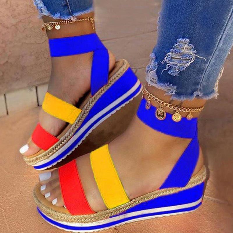 Été 2020 nouvelles sandales femmes assortis couleur talon compensé, la plate-forme de mode fructose chaussures femmes, classique romaine grande