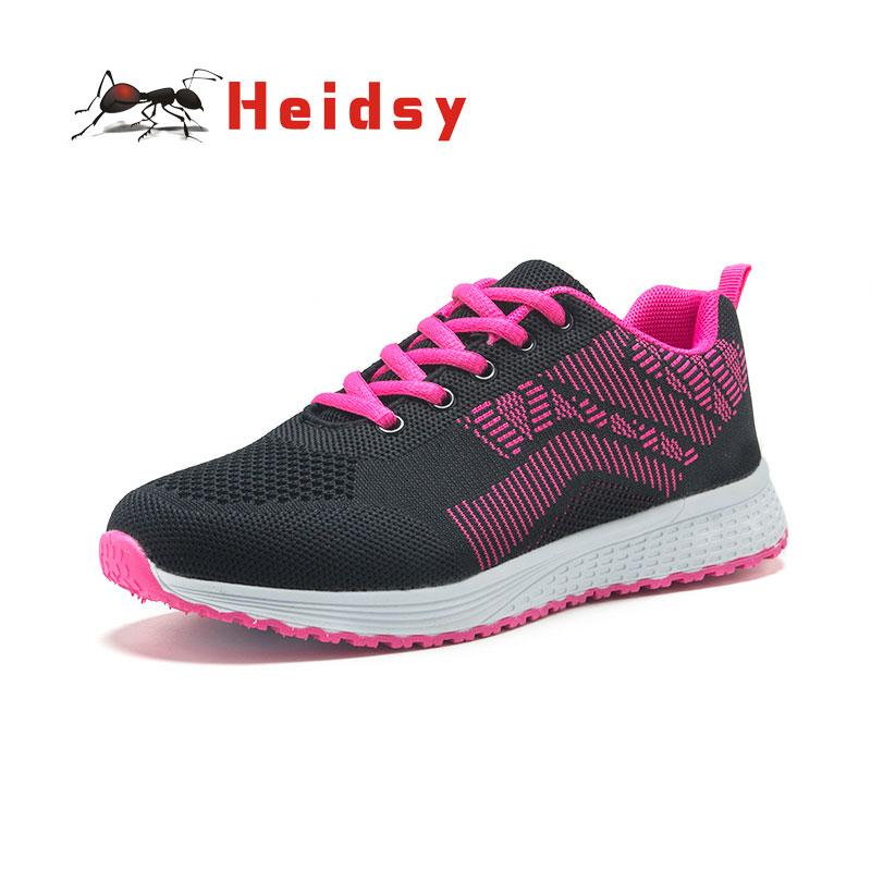 2019 Heidsy Women's Flats Comfortable Light Mesh Soft Bottom Outdoor Casual Shoes Breathable Elastic and Anti-slip Shoes