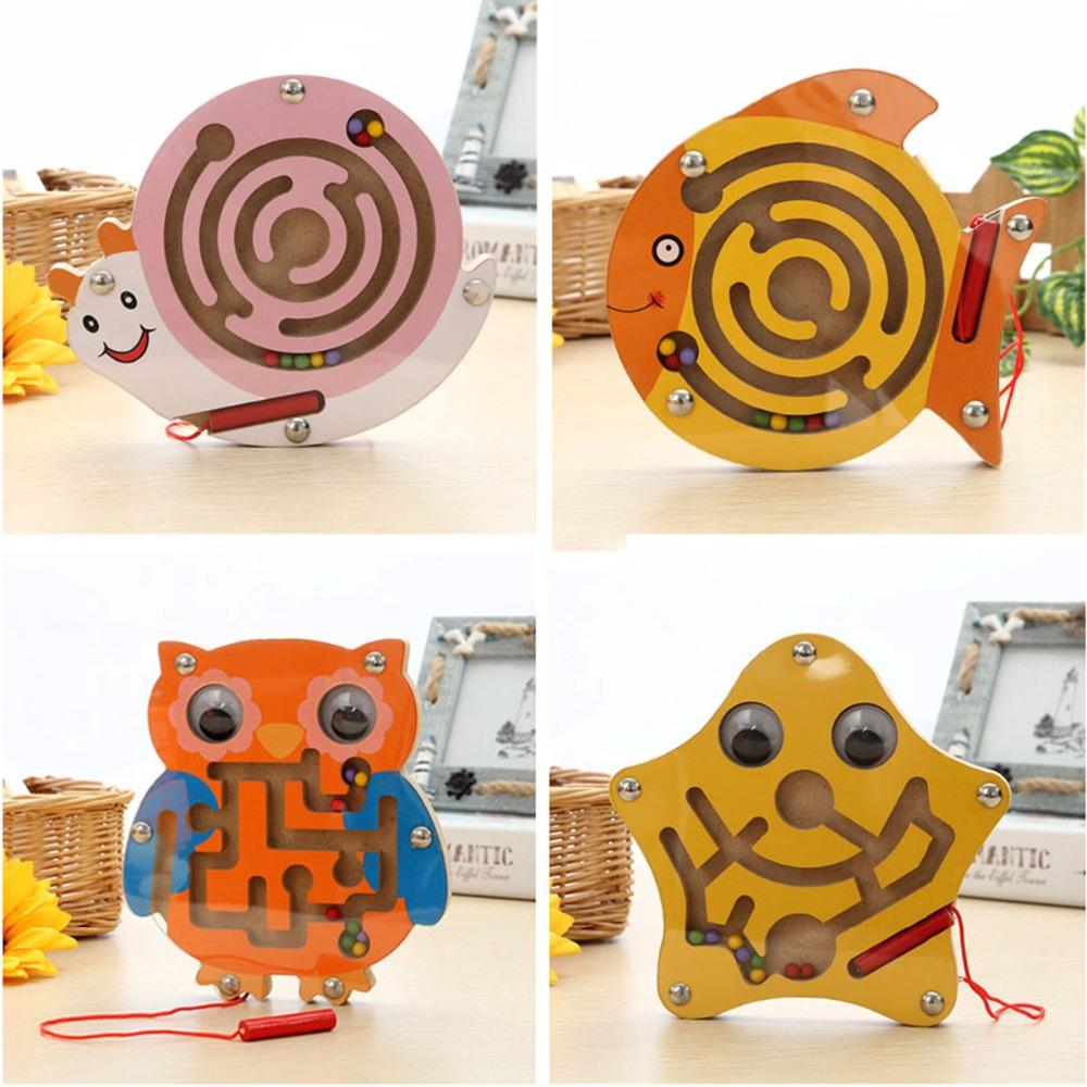 Cute Animal Cube Puzzle Maze Toys Game Wood Magic Games Magnet For Children Adult Cube Puzzle Education Balance Magnetic Maze
