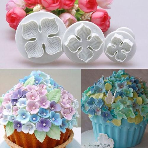 3pcs / set Gum Hortensia durillo flor Paste galleta de la torta del cortador del émbolo fondant de herramientas decrating