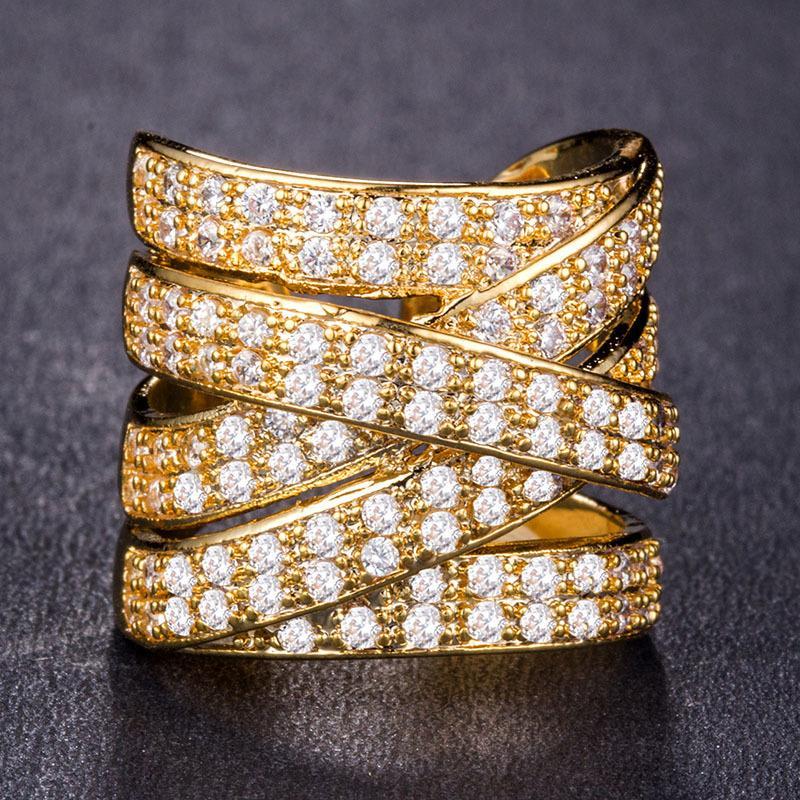 Joyas de oro circón anillo grande abierto plateado plata Rose partido de las mujeres para el oro de lujo brillante Mujer regalo de las mujeres