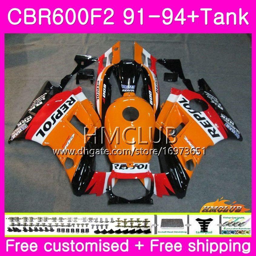 Bodys för Honda CBR 61F2 CBR 600 F2 FS 91 92 93 94 76HM.0 CBR600 F2 CBR600FS CBR600RR CBR600F2 1991 1992 1993 1994 Fairing Repsol Orange