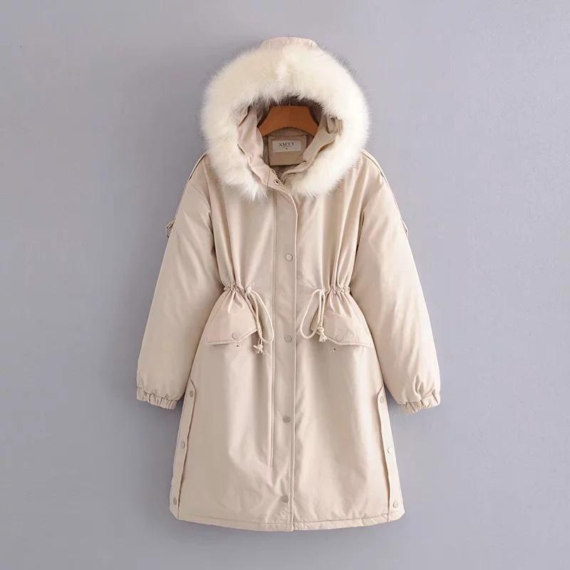 Damen Down Parkas 2021 Wintermantel Frauenjacke mit großem Pelzkragen Mit Kapuze Lange Baumwolle Kleidung Mode Sleeve Plus Größe Mäntel