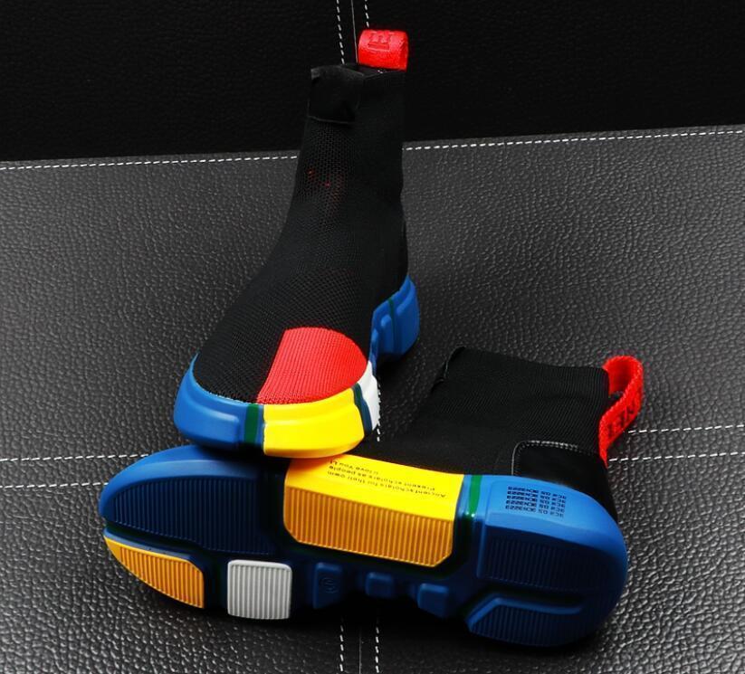 zapatos altos tops de los hombres de verano de los calcetines de los hombres de los zapatos de tendencia hip hop malla zapatos casuales para hombre zapatilla de deporte de la juventud bootsL29 tobillo de los hombres de