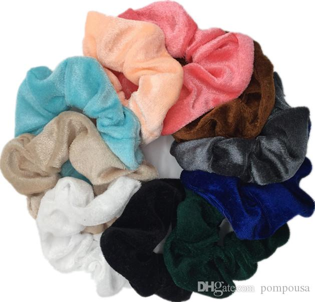 10 Pcs Soft Feel Velvet Hair Scrunchie Ponytail Donut Grip Loop Holder Stretchy Hair band Clips