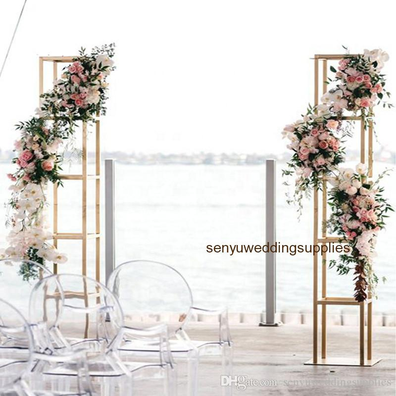 stand only )Gold floor Metal Tall Flower Arch backdrop Centerpieces For Wedding Decoration Floral Arrangement stand wedding stage decor