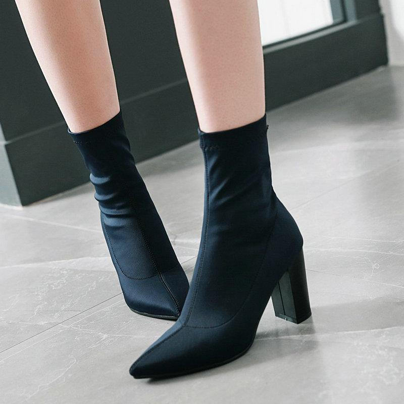 Heels Stretch Sock Boots Womens Fall Winter Shoes Flexible Pointed High Heel Ankle Boots Black