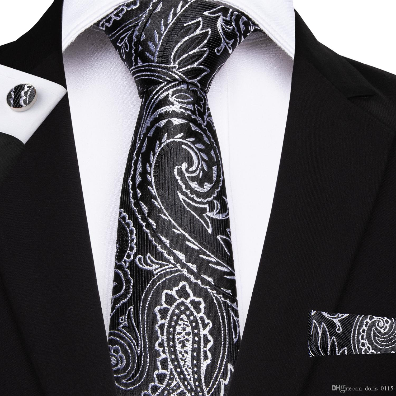 Paisly 넥타이 남성 넥타이 검은 꽃 자카드 직물 100 % 실크 넥타이 손수건 커프스 비즈니스 파티 손수건 클래식 Gravatas SN-7051