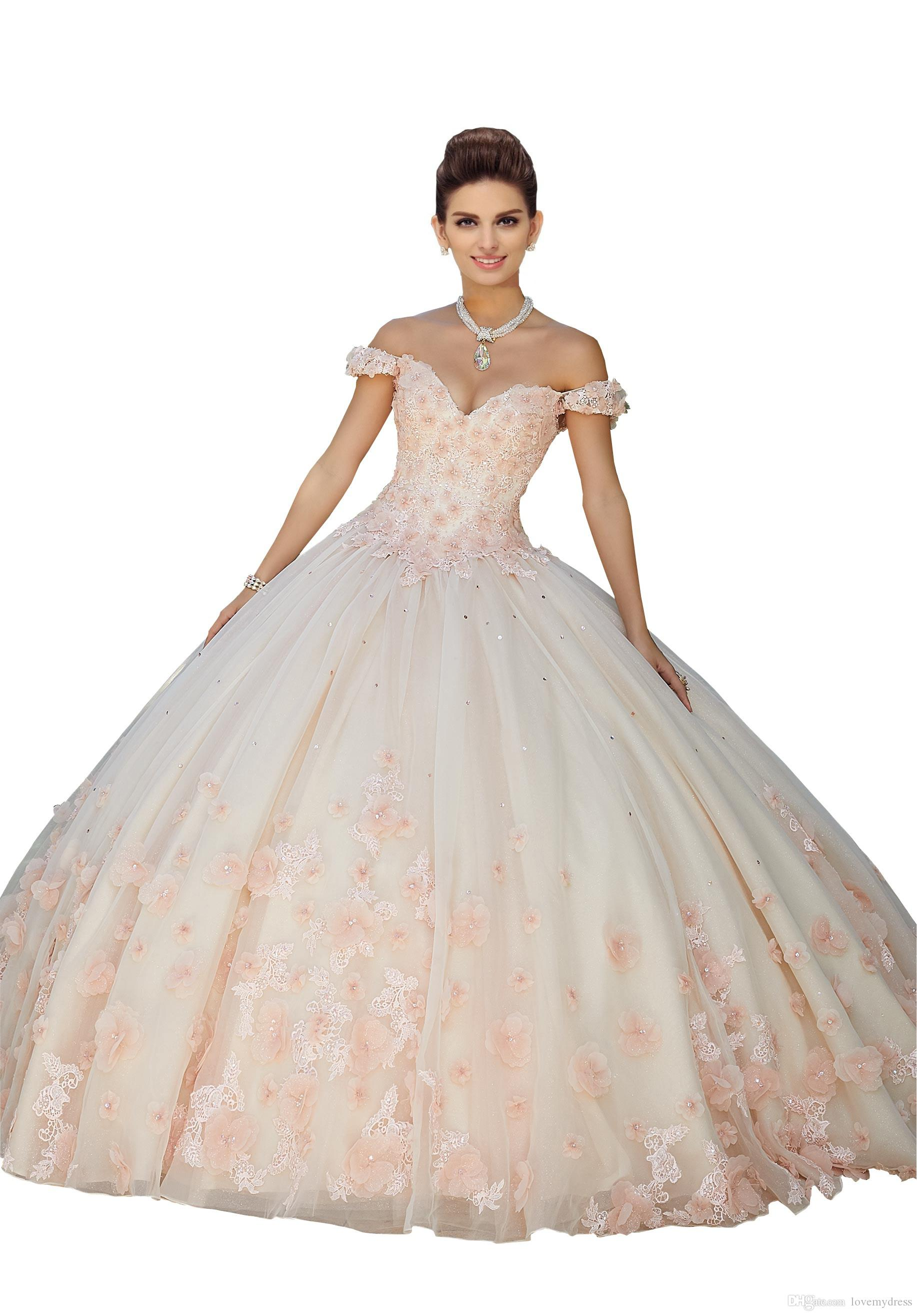 3d Flowers Lace Beaded Quinceanera Dresses Pink Ball Gowns Off The Shoulder Corset Back Tulle Sweet 16 Dress Vestidos 15 Anos Vestidos De Quinceanera