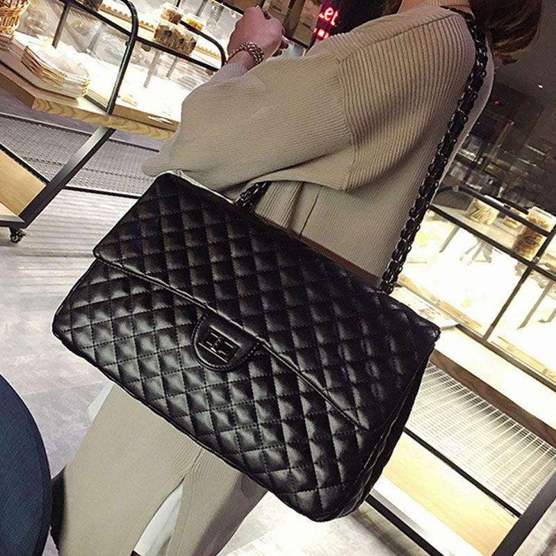 LANSUXIANG Cuoio di grande capienza grande borsa per le donne Borsetta nera trapuntata spalla tracolla a catena Flap Satchel Viaggi
