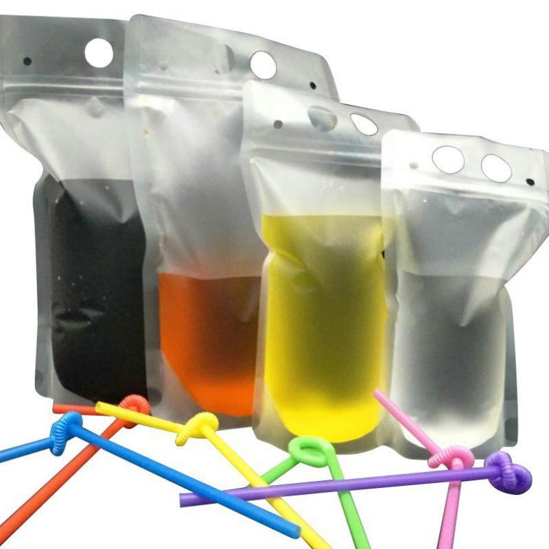500pcs boisson clair givré Sacs Pochettes Zipper Stand-up Sac Boire en plastique avec de la paille avec porte refermable résistant à la chaleur ST454 17 oz