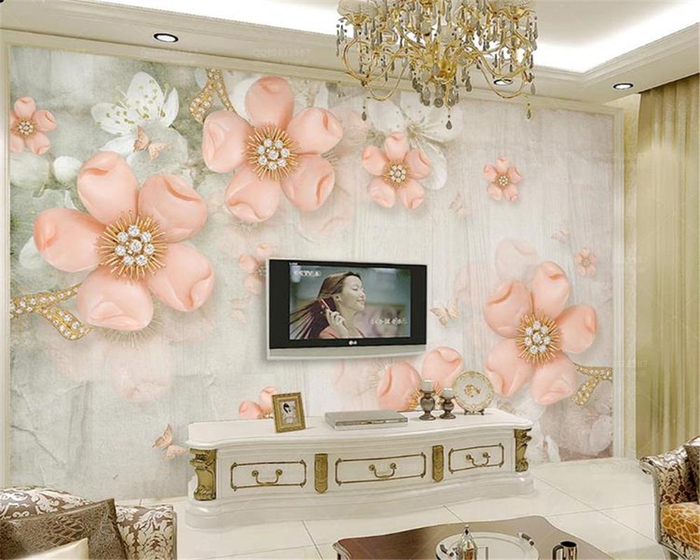 3D 방 바탕 화면 사용자 정의 사진 아름다운 유럽 양각 자두 다이아몬드 스테레오 TV 배경 벽 HD 배경 화면을 3D