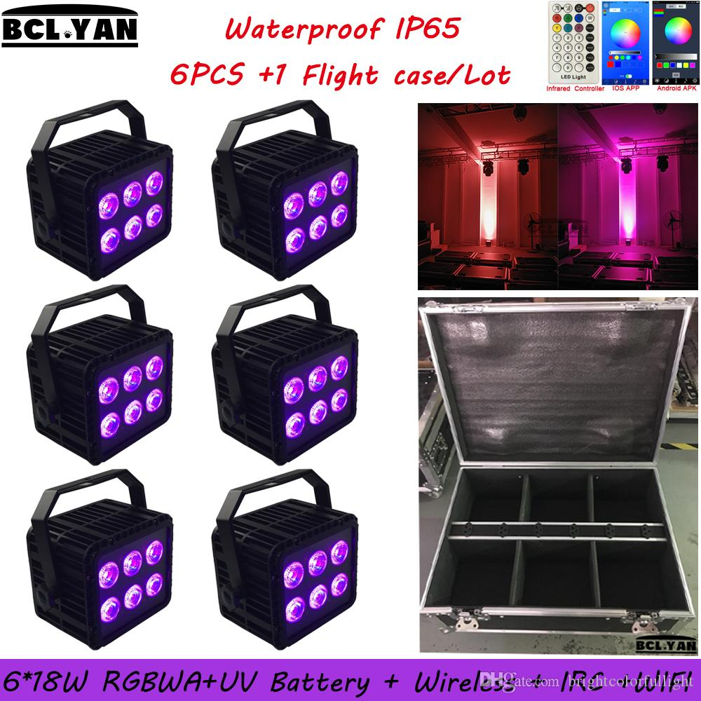 HOT Waterproof Wireless dmx battery powered led stage light with wifi & IR remote control 6*18w RGBWAUV 6 IN 1 flight case