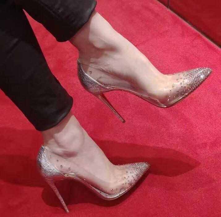 talones de la venta caliente-rojo de diseño suela de cuero genuino puntas de los pies zapatos de vestido de las bombas