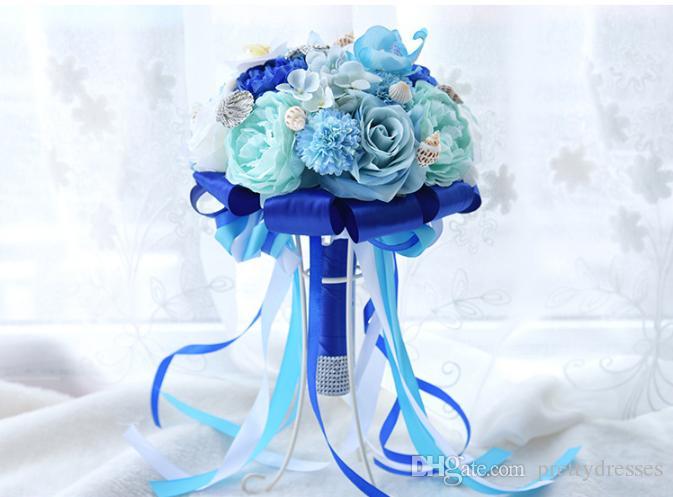 Océan Bleu 2019 Nouveau Bouquet De Mariage De Mariage Soie Artificielle Rose Fleurs Plage Mariée Mariage Demoiselle D'honneur Poignées Bling Starfish Beach