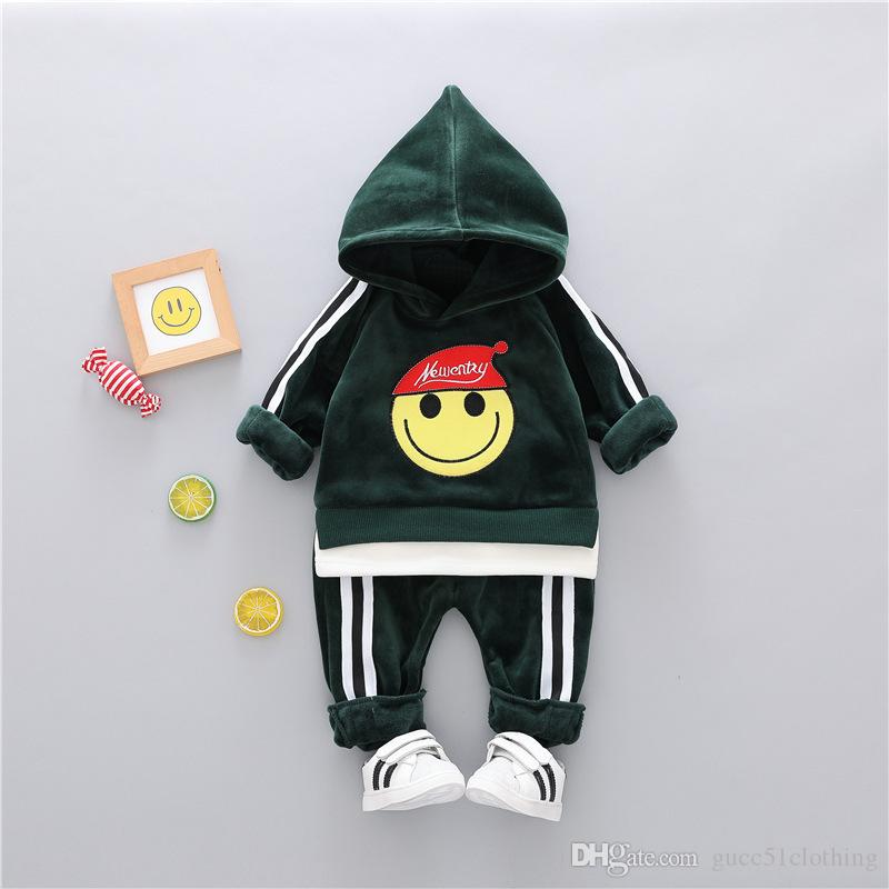 HOT auf Lager Bester Verkauf verdickte Gold Samt 1-4 Jahre alt Baby-Mädchen-Kleidung + Hosen hohe Qualität coco
