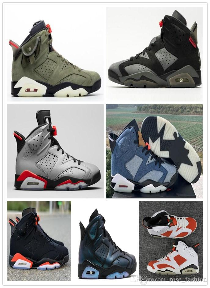 With Box 6 Blue Washed Denim 3M 6s JSP Reflective Silver Mens basketball shoes 2019 Infrared Travis Scotts outdoor athletics Free Shippment