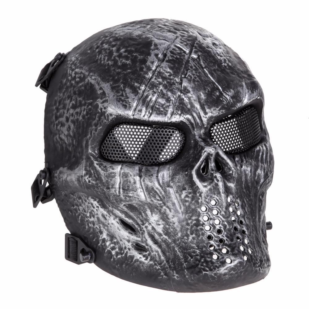 Máscara de Airsoft Paintball do crânio do Máscara Facial Exército Jogos ao ar livre Metal Mesh traje protetor dos olhos para Artigos para Festas de Halloween