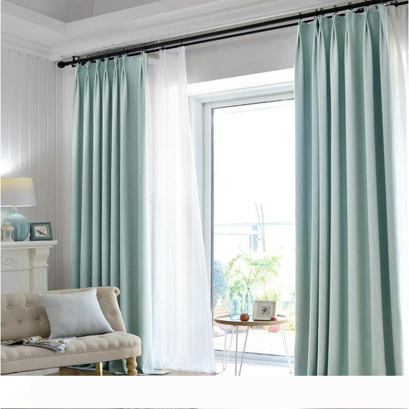 Luxury Linen Cotton Blackout Curtain For Living Room Bedroom Kitchen Solid Color Modern Minimalist Pattern Home Decoration