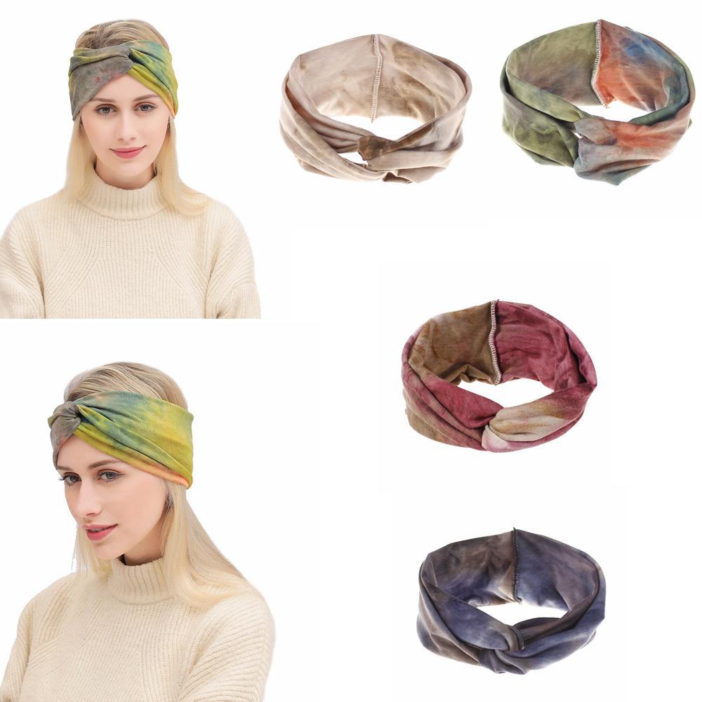 4styles tie-tingido lavado colorido penteado meninas bohemian bandagem torcida atadura turbante turbante headwrap praia vintage headband ffa2395-2