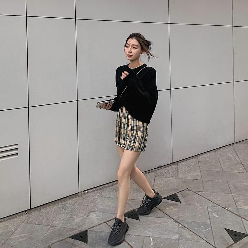 DANALA New Plaid College style jupe pour les femmes filles étudiants brun-rouge Plaid Brochage Vif Jupes Femmes Mode 2019
