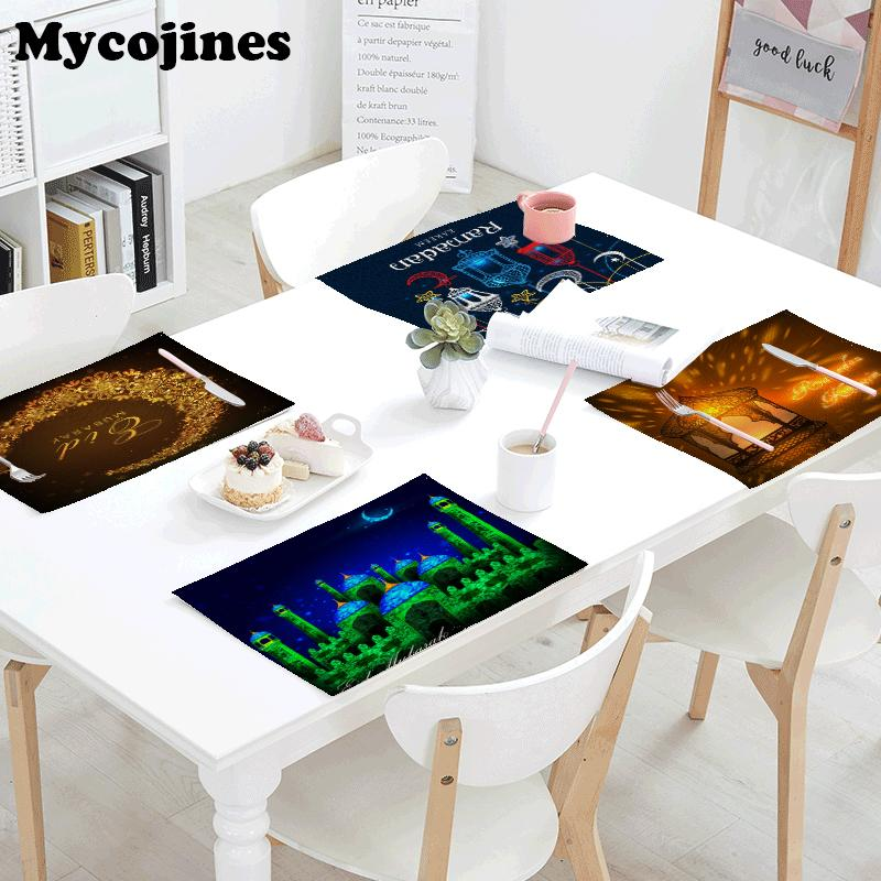 Tablecloth 42x32cm Ramadan Kareem Moon Letters House Linen Printed Coffee Table Mats Napkins Kitchen Decorative Gifts