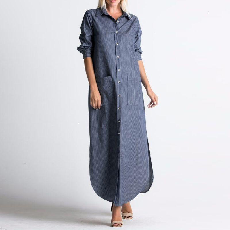 Designer Womens vestito copre il vestito dalle donne del maxi 2019 Autunno collo a V Bottoni completi a righe asimmetrico allentato casuale Abiti Plus Size