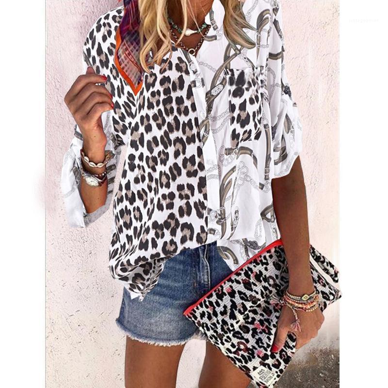 Mode collier stand Vêtements pour femmes Contrast Casual Couleur Hauts femmes Designer imprimé léopard Chemises lambrissés Blouses avec bouton