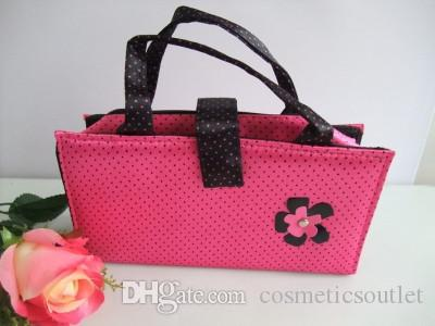 Fashion Women MC Brand Makeup Cosmetic Pink Bags With Black Pink Flower Beauty Wash Case Ladies Travel Makeup Handbags