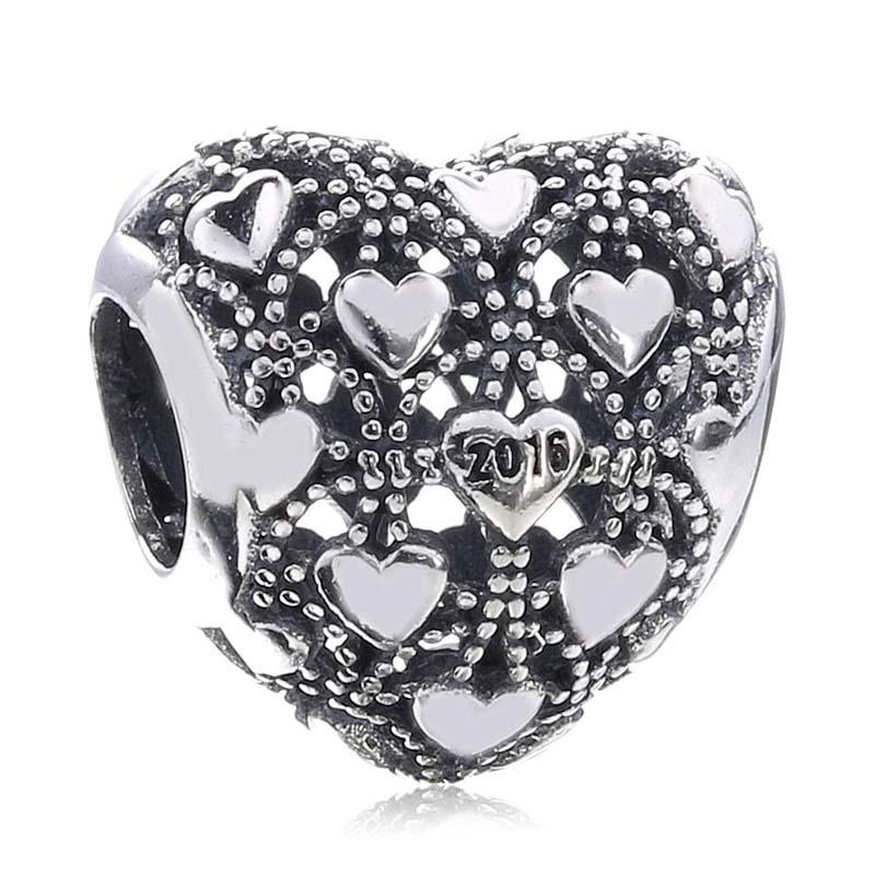 New 100% Real 925 Sterling Silver Beads Vintage Openwork Love Heart Club Charm Beads Fit Women Gift European Charm Bracelet Diy Jewelry