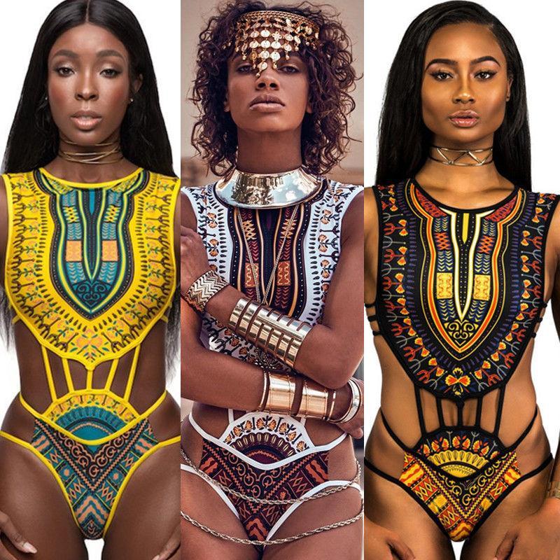 2019 Mulheres Sexy Étnica Swimsuit Floral Africano Maiô Cintura Alta Impresso Cobrir Biquíni Set Bathers Swimwear Beachwear