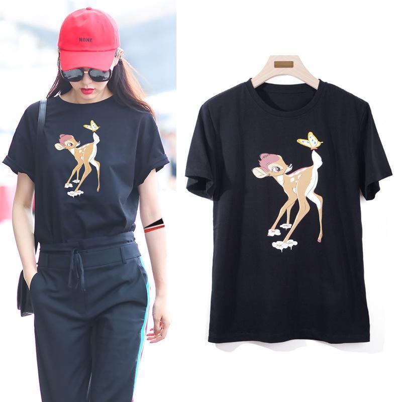 Envío de alta calidad de la manera de las mujeres diseñador de la camiseta de los pares de Verano tapas impresas Casual Tee algodón de manga corta camiseta del O-Cuello