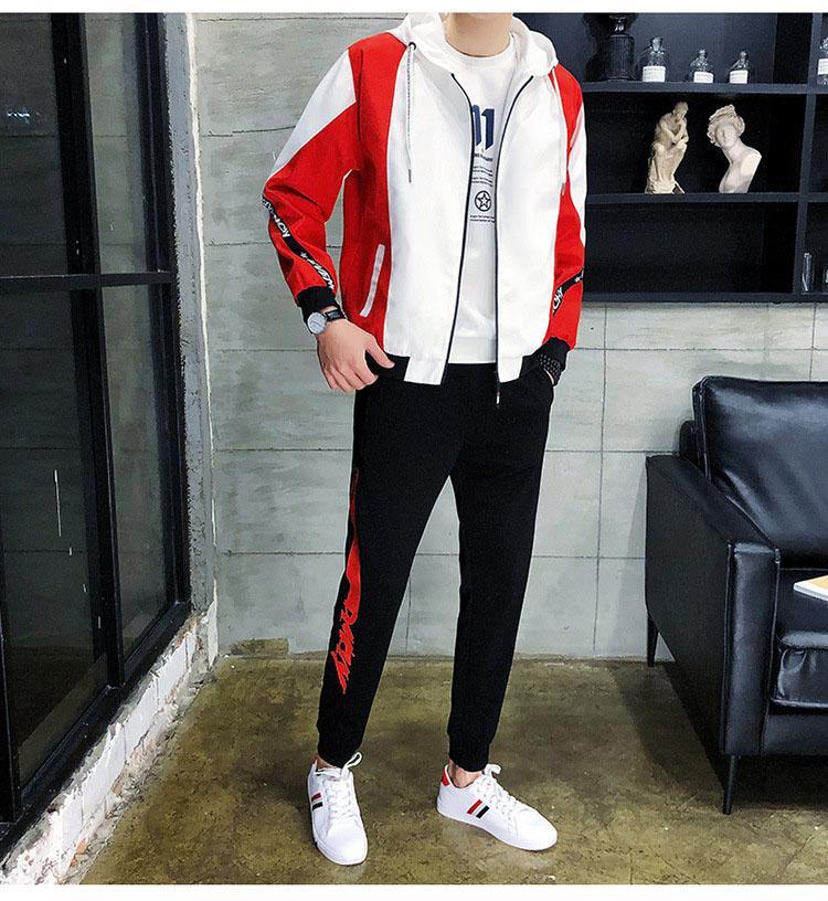 Erkek Tasarımcı Marka Casual Kıyafet Lüks Fermuar 2 adet Seti Moda İlkbahar L-5XL Yeni Eşofman 2019 En Sıcak 4 Renkler varış