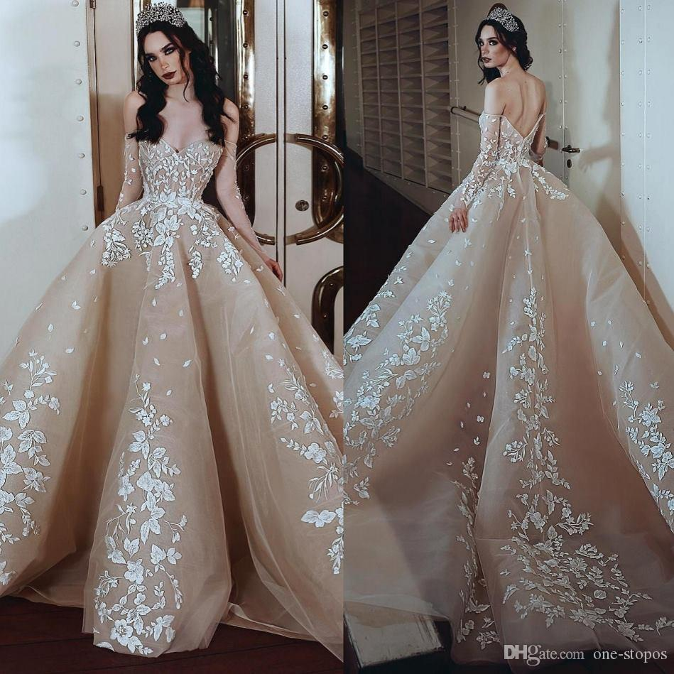 2019 Champagne Lace Wedding Dress Ball Gown Off Shoulder Lace