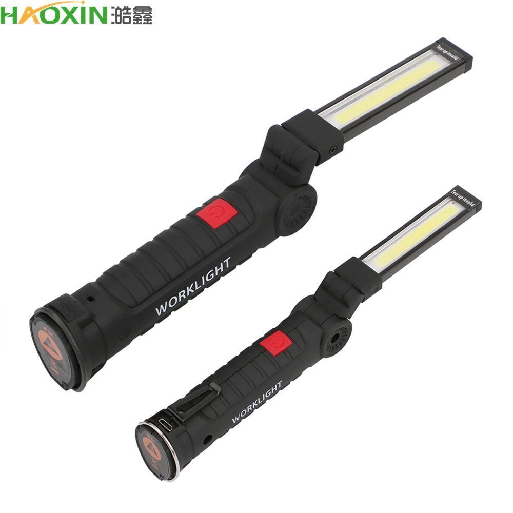 Haoxin COB LED 5 Modu Aydınlatma Fener Kanca Ile Katlanabilir Çalışma Lambası Pil Kumandalı Mıknatıs Torch Lambası Avcılık Kamp